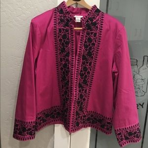 Victor Costa blazer coat cotton spandex pink black